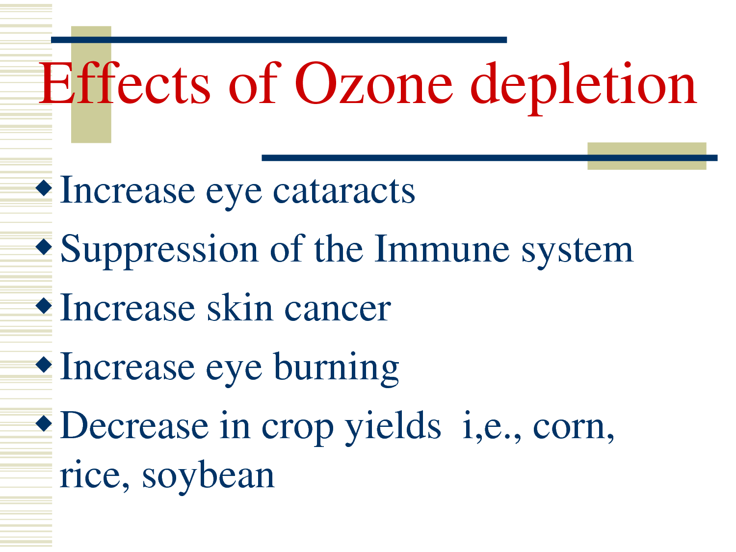 ozone layer and its depletion Learn about the causes and effects of ozone depletion.