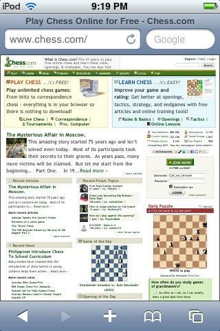 Chess.com in Safari on the iPod Touch