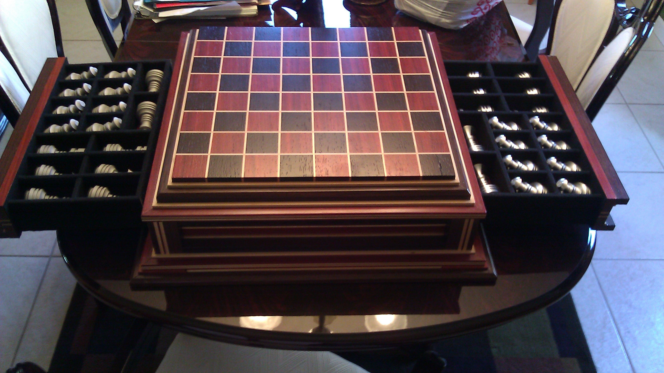 Wooden Chess Table ~ Custom wood chess board with metal pieces