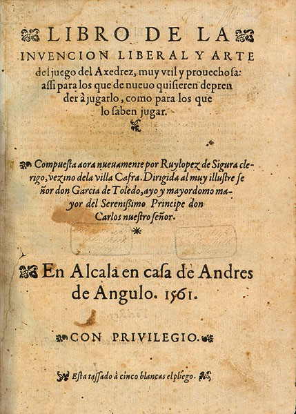 Title Page from Ruy Lopez' 1561 book.