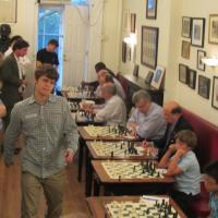 Magnus Carlsen's exhibition in NYC, NY, August 23, 2012