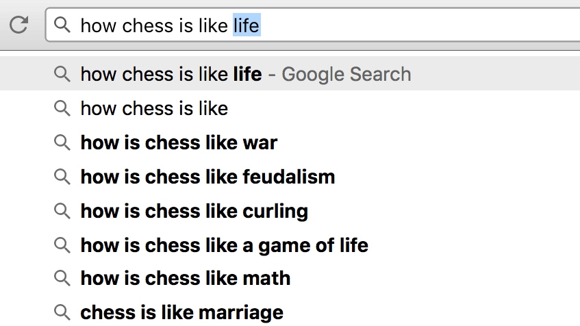 How Chess is Like... [FILL IN THE BLANK]