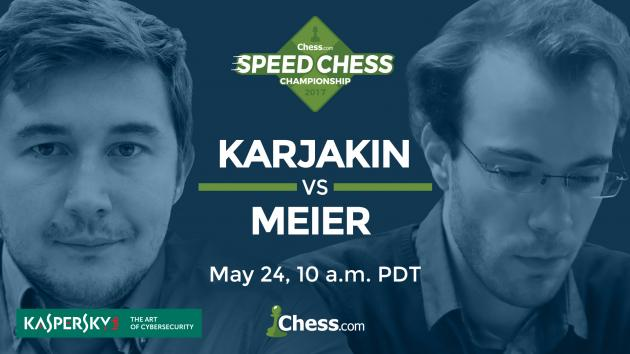 So könnt Ihr das Achtelfinale der Speedschach Meisterschaft Karjakin gegen Meier ansehen