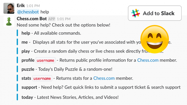 @chessbot - The Chess.com Bot for Slack