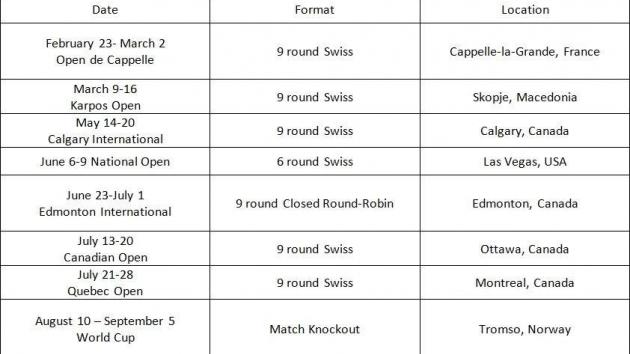My tournament schedule