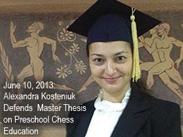 Alexandra Kosteniuk Defends Master Thesis on Preschool Chess Education