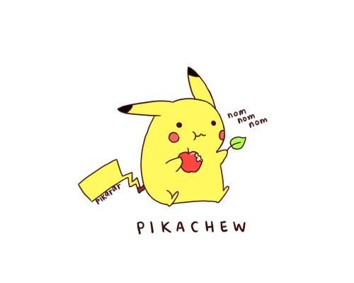 Pikachu eats.