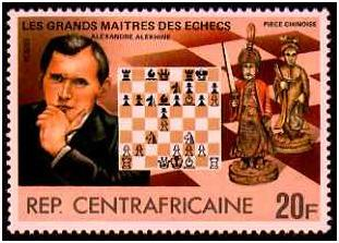 Alexander Alekhine vs Rubinstein, The Hague, 1921, postage stamp