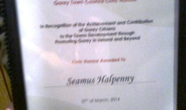 Civic Honours for Seamus HALPENNY!!
