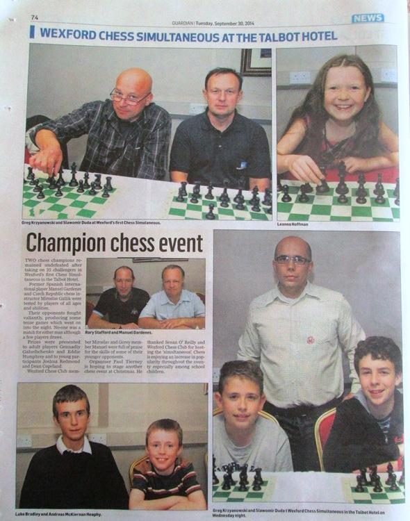 Wexford Chess exhibition results