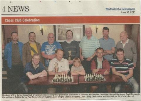 Gorey Chess Club 3rd in division 4