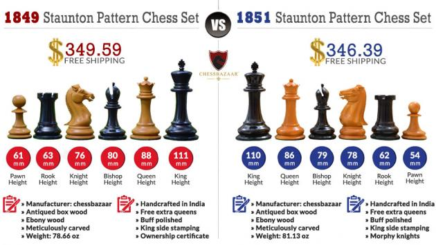Chessbazaar's 1849 vs 1851 Chess Set Comparison Infographic