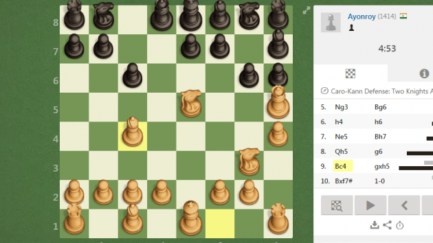 caro can defense 2 knight attck 4. Trap