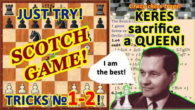 Keres has sacrificed a Knight and a Queen in the Opening Scotch Game!