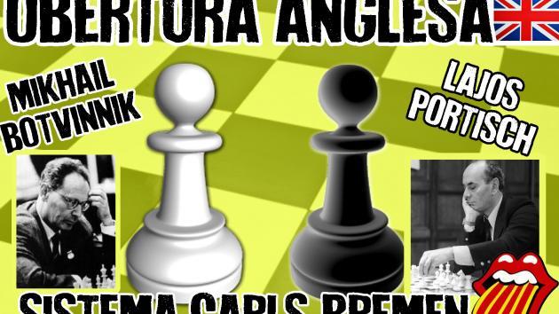 Botvinnik vs Portisch (1969) Obertura Anglesa, sistema Carls-Bremen
