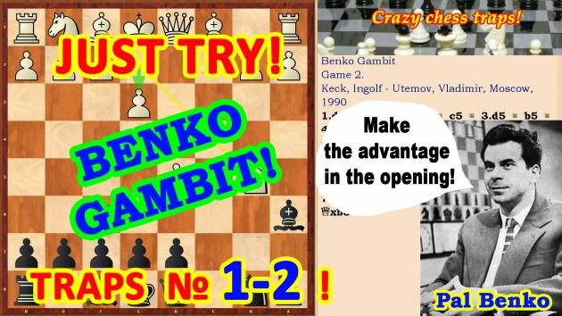 The most famous chess opening traps in the Benko Gambit!