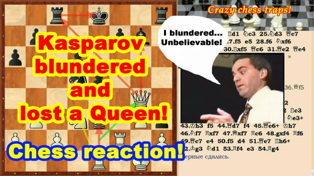 Kasparov blunders and loses a Queen and a Chess Game to Anand!