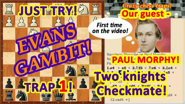 Our guest - Paul Morphy! Two knights checkmate in the Evans Gambit!