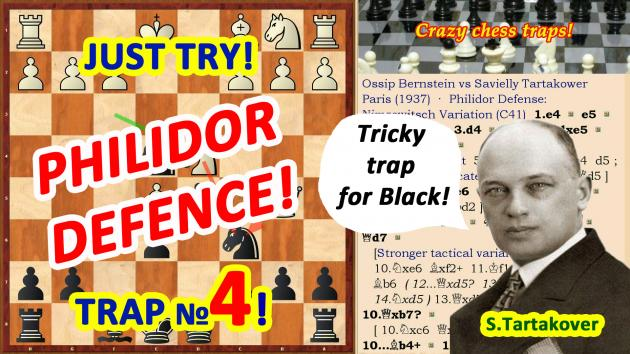 See a new video: Chess Trap in the Opening! Opponent took two rooks and got checkmate!
