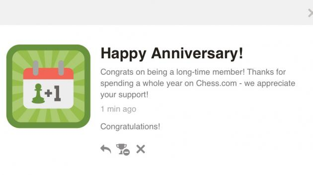 A year on Chess.com!