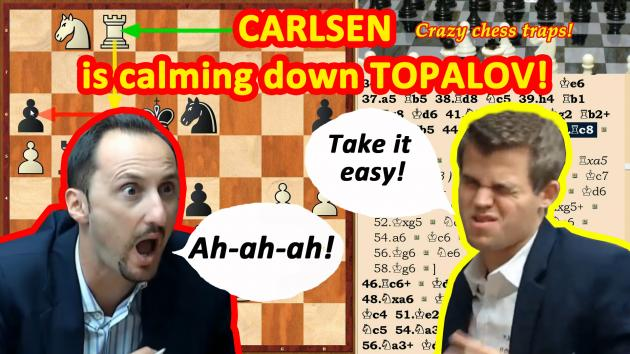 Magnus Carlsen was calming down Topalov after a chess game!