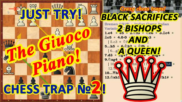 Black sacrificed two Bishops, a Queen and checkmated!