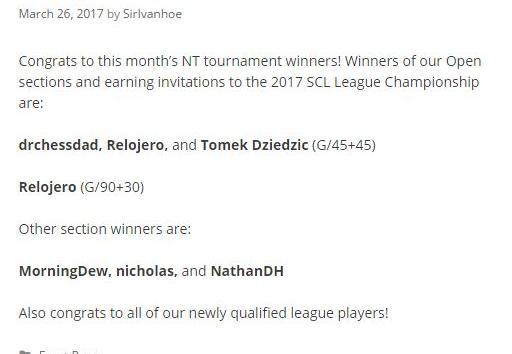 Yay! Joint Winner for the month of March