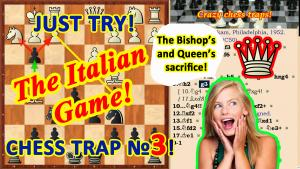 The Bishop's and Queen's sacrifice trap in the Chess Opening Italian Game!'s Thumbnail