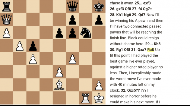How to Crush a Higher Rated Player but Then Blunder Your Queen