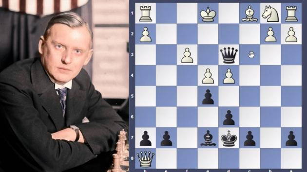 Alekhine need 2 pieces to mate in just 15 moves.