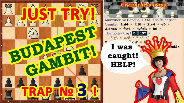 Сhess traps! Trick in the opening Budapest gambit!