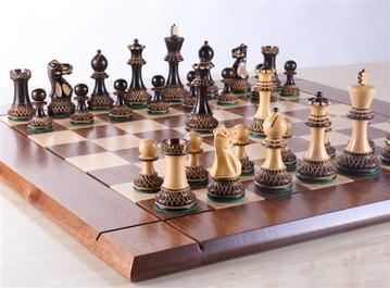 Heirloom Burnt Finish Grandmaster Chess Set