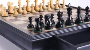 """19"""" English Chess Set with Pullout Storage Drawers's Thumbnail"""