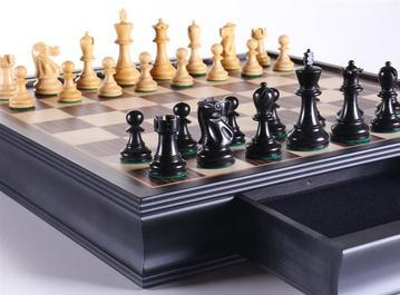 "19"" English Chess Set with Pullout Storage Drawers"