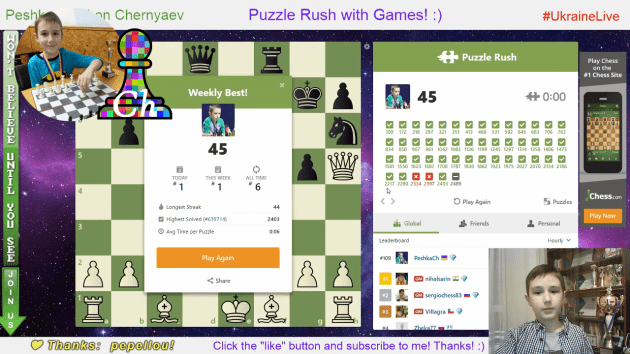 NEW RECORD online!!! Chess prodigy Tihon (9 y.o.) did 45 in Puzzle Rush!!!