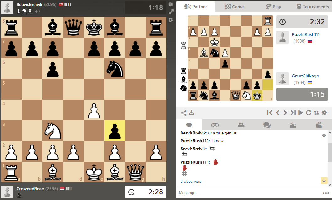 Beginning at Bughouse on Chess.com
