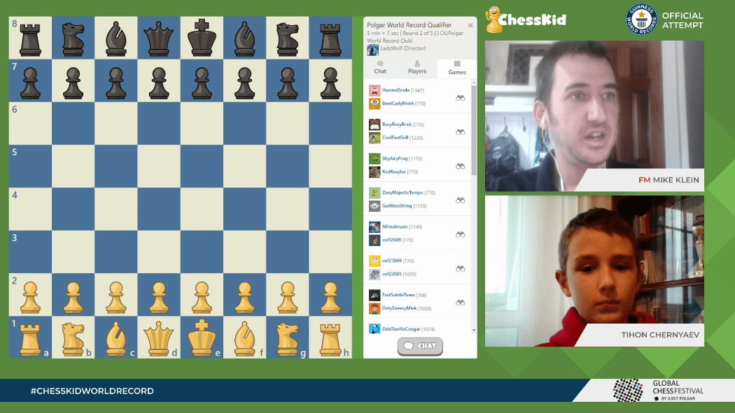 ChessKid World Record Attempt with FM Mike Klein and Chess Prodigy Tihon Chernyaev