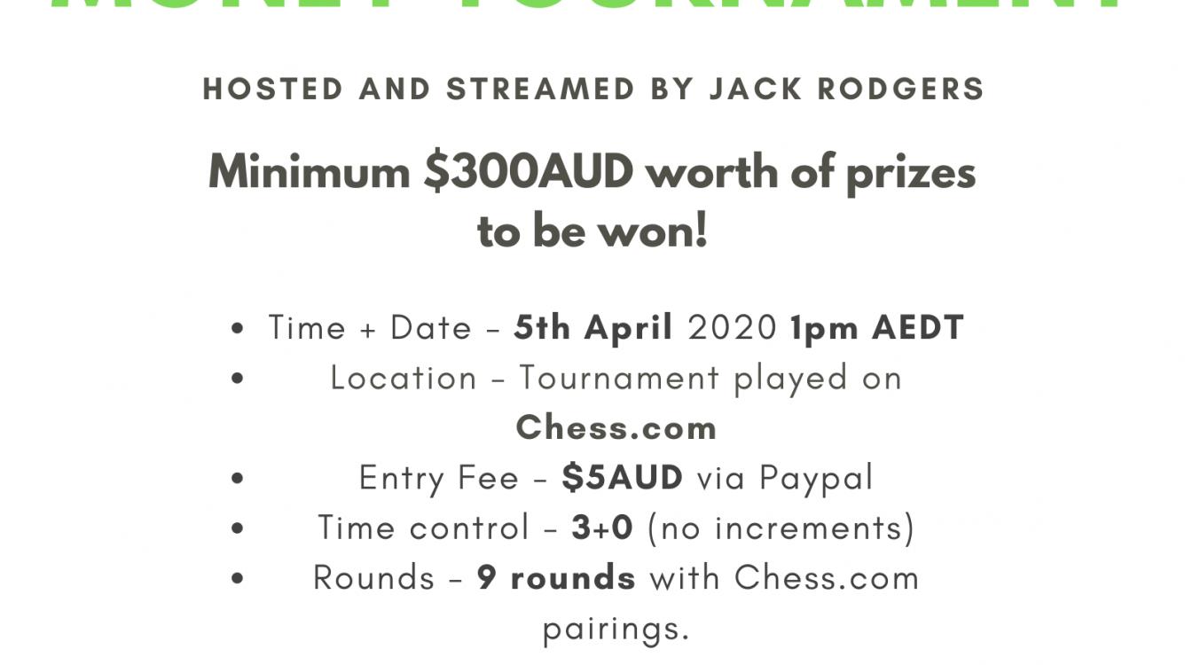 Online Blitz Chess Money Tournament (1pm April 5th AEST) (updated)