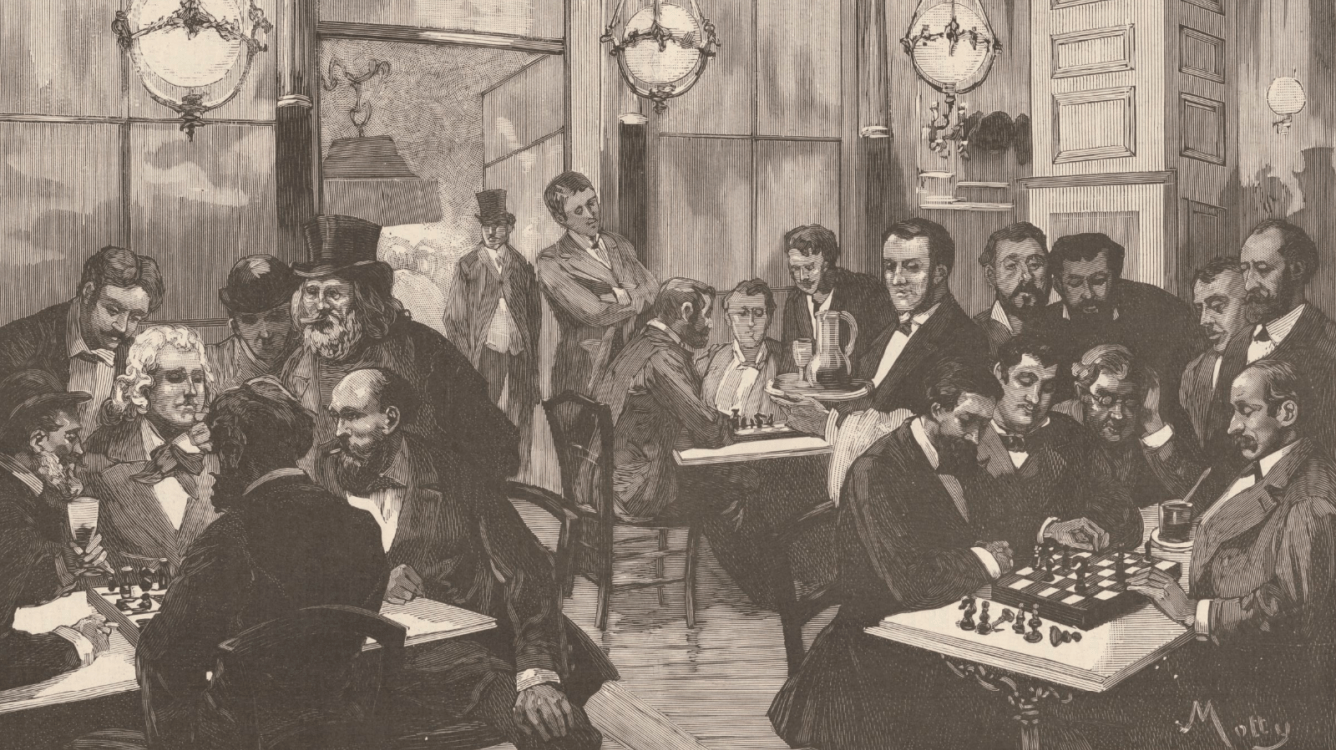 The chess players at the cafe de la Regence. Disagreements at the Paris - Vienna match of 1884-1885