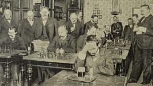 Carl Schlechter playing blindfold in 1898 in Vienna... I just found a game