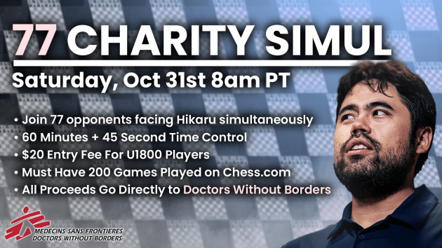 Play Me In A 77-Board Simul For Charity On Oct. 31