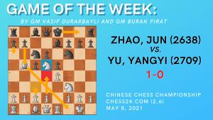 Game of the Week XVIII- Zhao,Jun (2638) - Yu,Yangyi (2709)