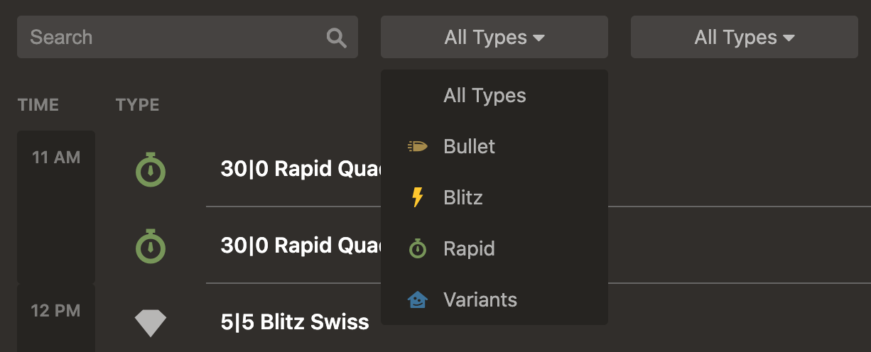 Tournament search filters