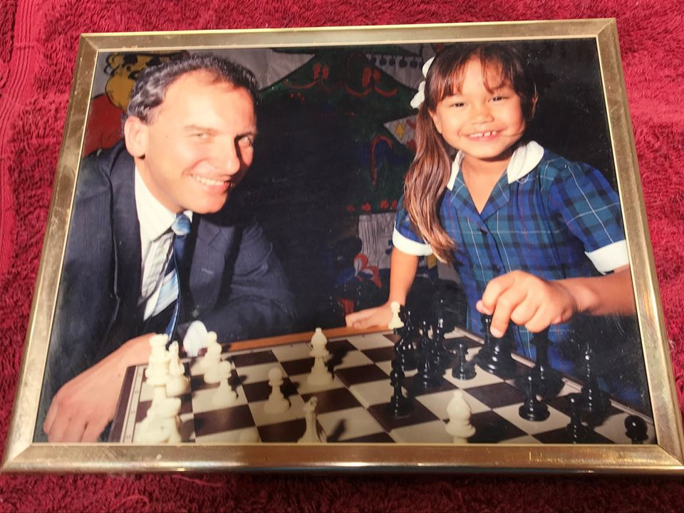 A young Arianne Caoili with Graeme Gardiner