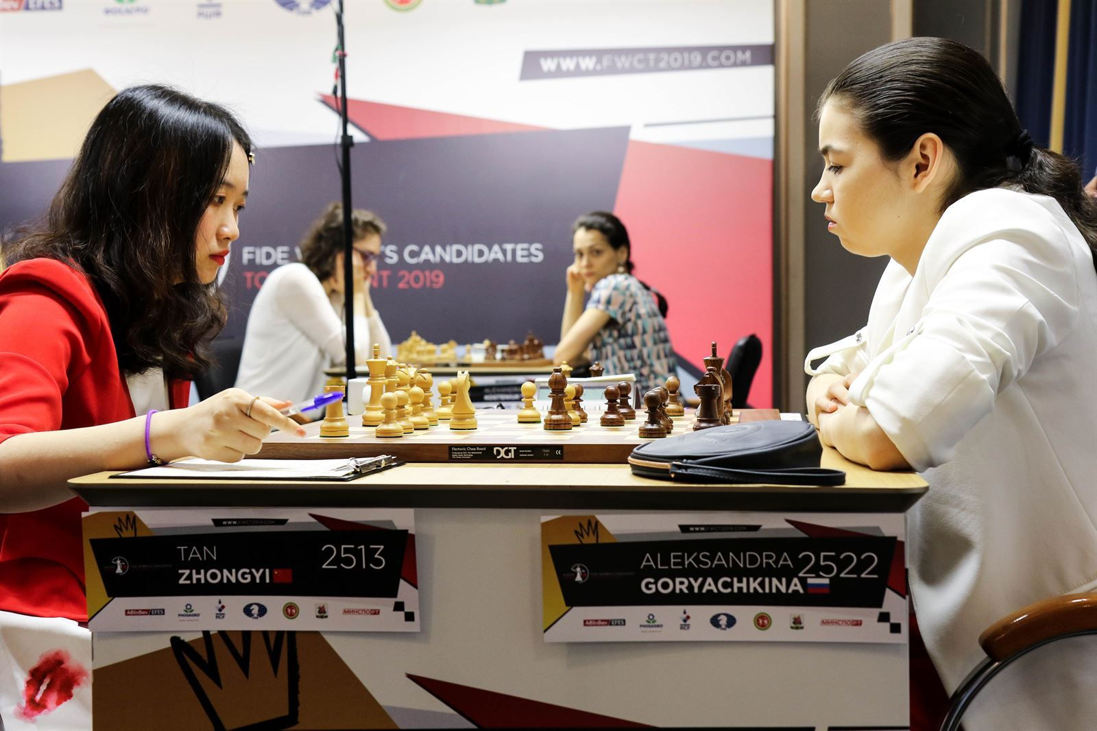 Tan, playing white, nearly managed to stop Goryachkina in her tracks. | Photo: FIDE.