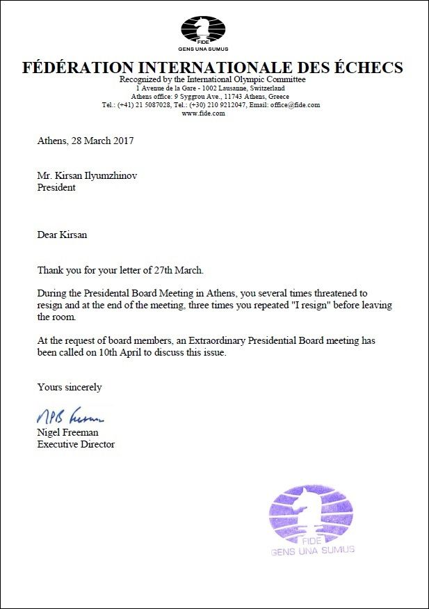 in a more lengthy letter he mentions that there was a very emotional discussion after the presidential board meeting had finished - Letter Of Resignation Board Of Directors