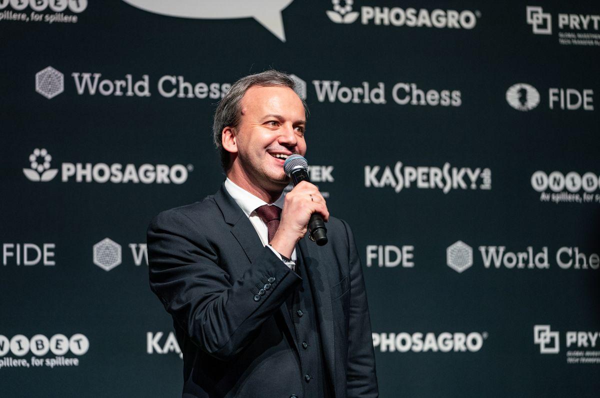 Arkady Dvorkovich 2018 World Chess Championship Carlsen Caruana Closing Ceremony