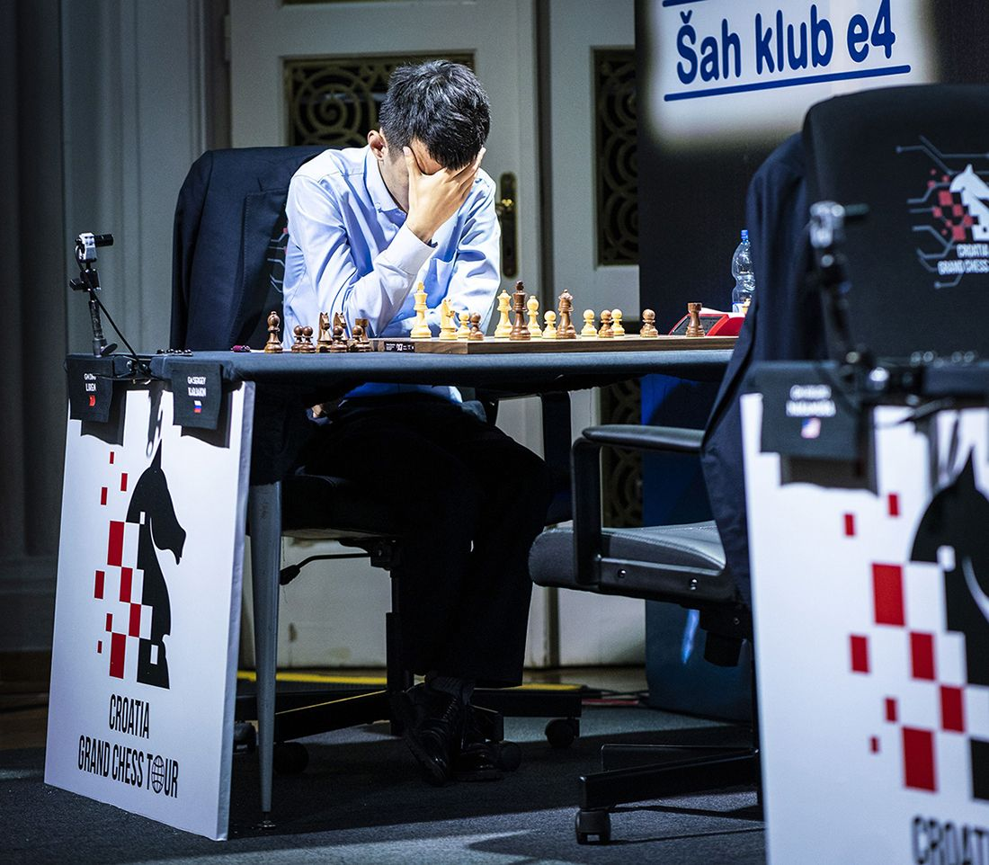 A visibly dejected Ding after Karjakin's staunch defence.. | Photo: Lennart Ootes/Grand Chess Tour