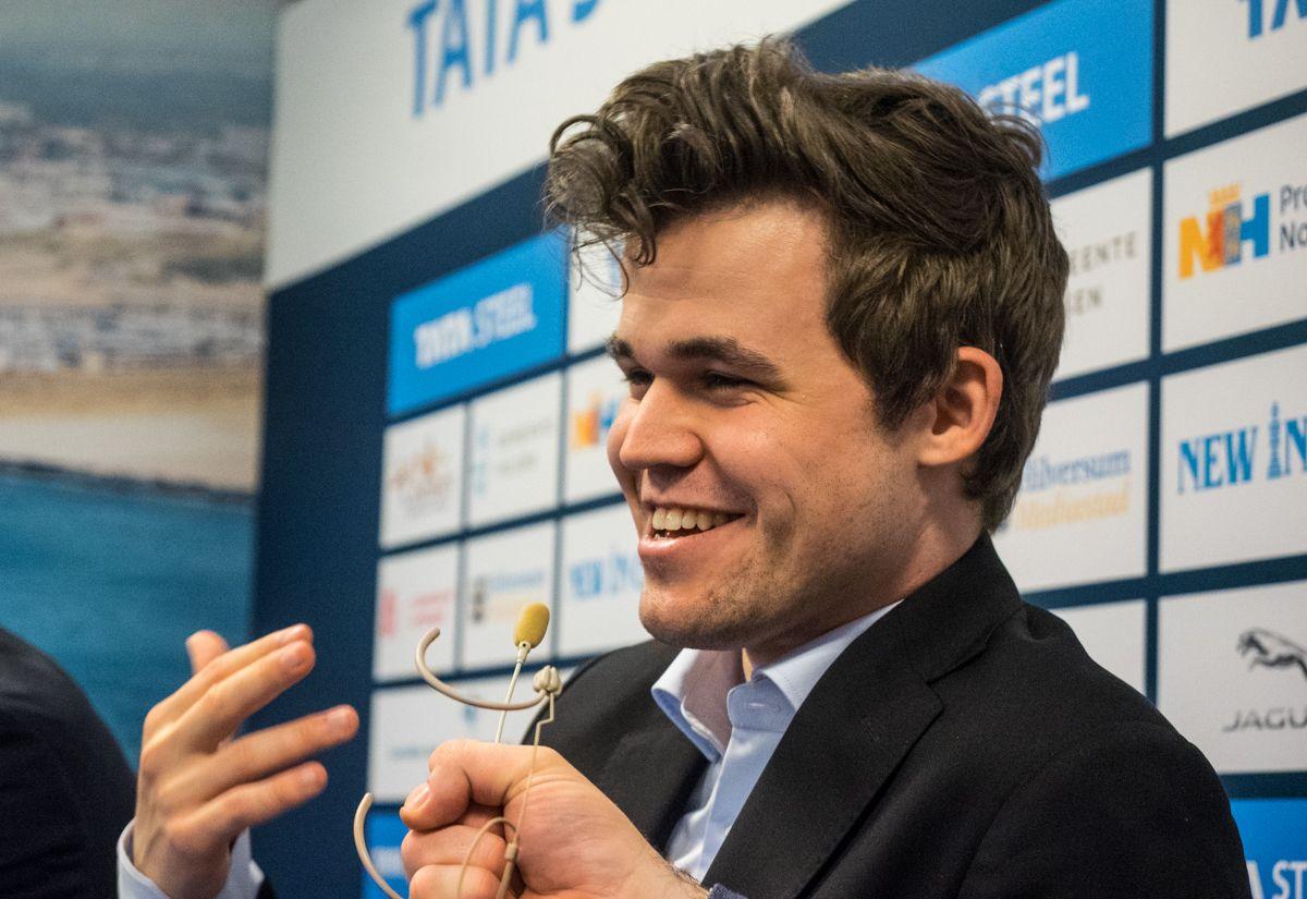 Magnus Carlsen, press conference Wijk aan Zee Tata Steel 2018