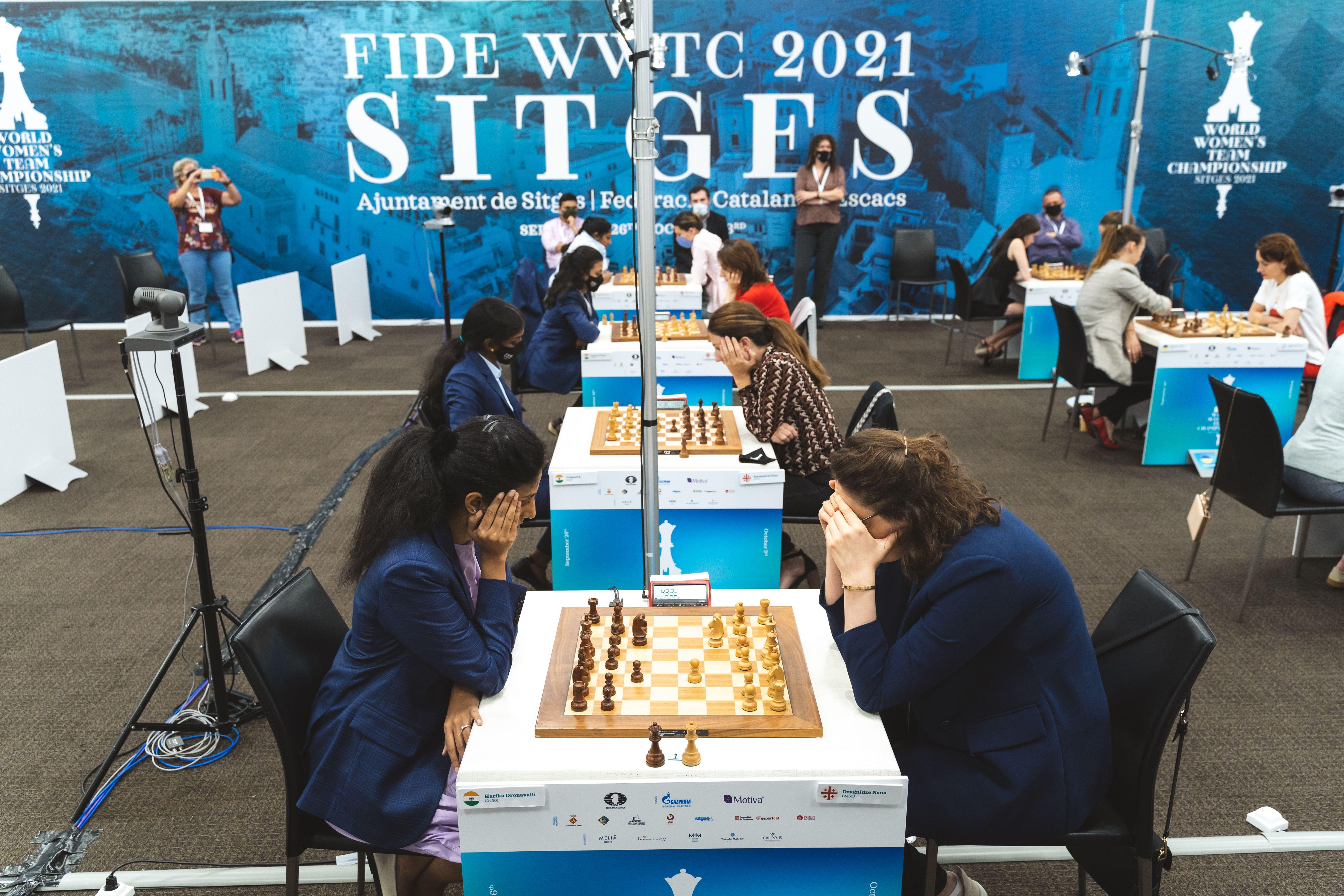 Georgia vs India semi-final match at the Women's World Team Championship